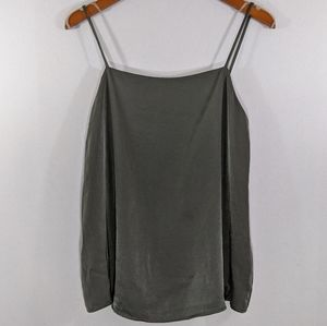 AUDREY 3+1 Solid Satin Forest Green Cami Tank Top